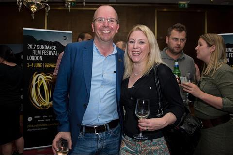 Col Needham (founder and CEO of IMDB) with journalist Anna Smith (chair of the Critics' Circle Film section)